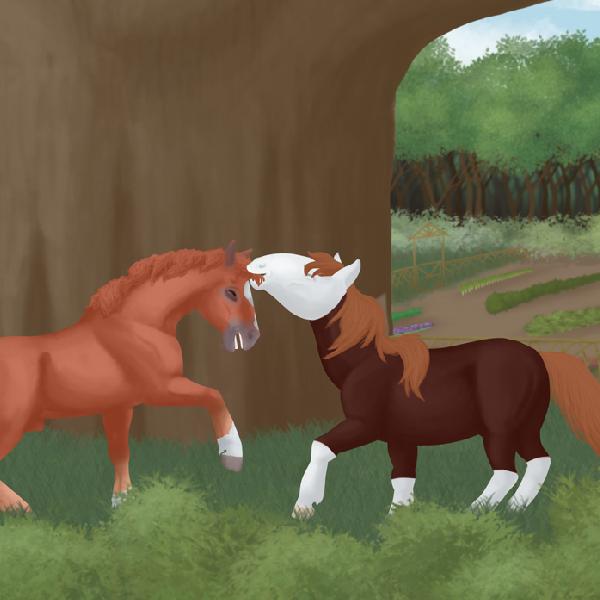 Illustration numérique par Scotis représentant deux chevaux alezans jouant