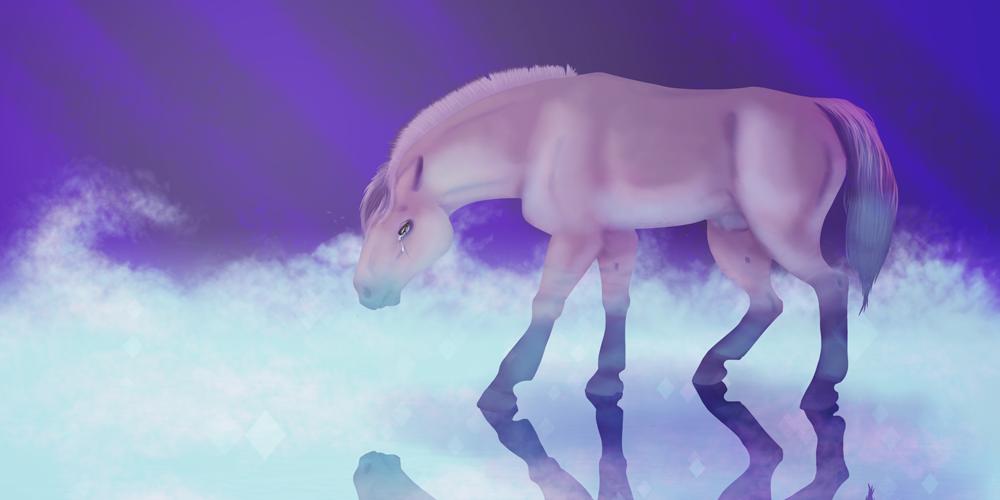 Illustration numérique par Charlotte représentant un cheval fjord