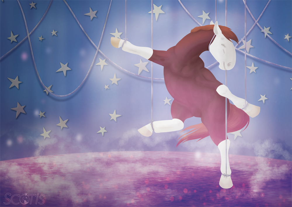 Illustration par Scotis représentant une jument alezan dansant dans une mise en scène de marionnette, sur de la glace