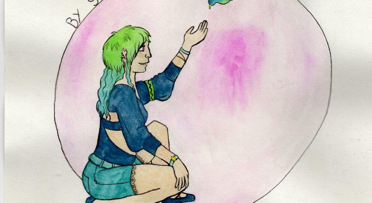 Viper, OC de Celsia°Lunatik, peint à l'aquarelle et encre de chine par Charlotte