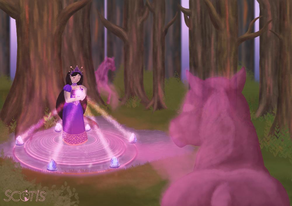 Peinture numérique de Scotis représentant une Prêtresse d'Epona dans la forêt appelant à elle magiquement les esprits des chevaux décédés.