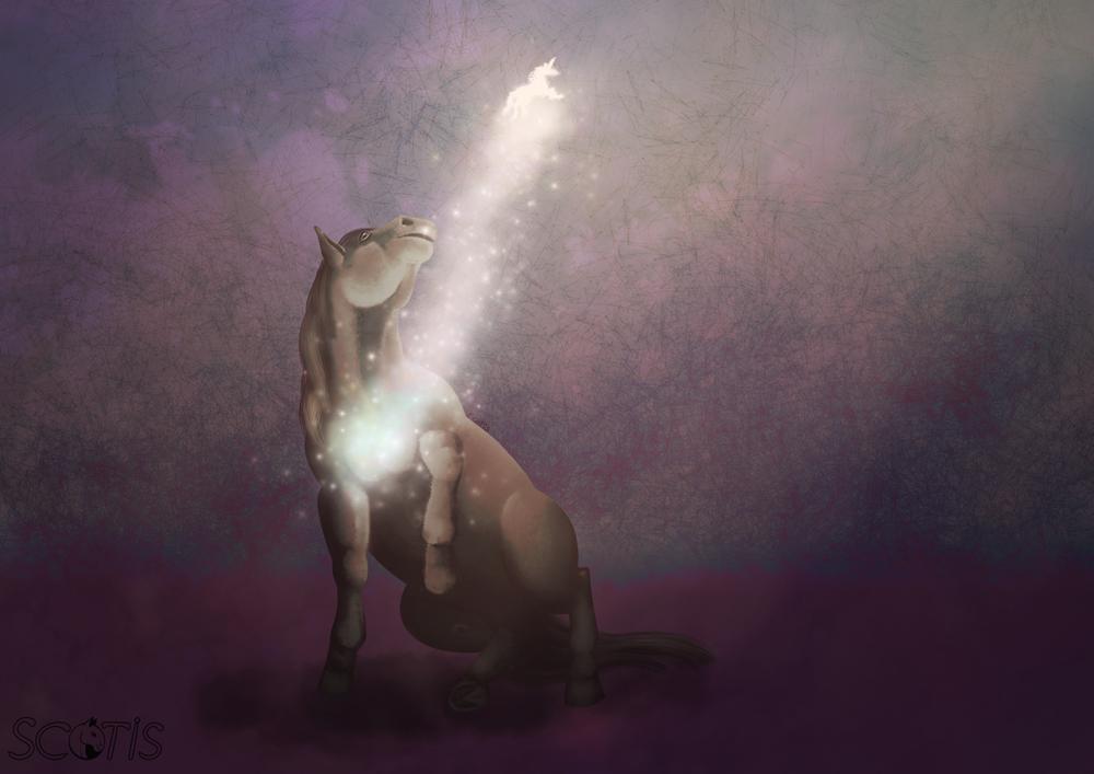 Cheval noir regardant s'envoler une part de son âme dans des étoiles de magies sur un fond violet