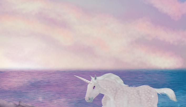 Licorne boulonnais gris pomelé courant sur la plage sous un ciel rose et bleu