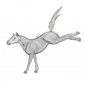 Cheval de selle gris ruant, croquis par Scotis