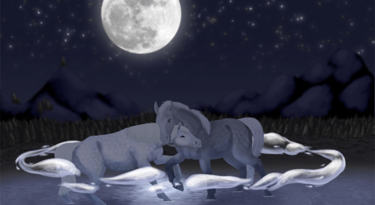 Lesbos, deux juments lesbiennes s'enlaçant au clair de lune dans l'eau
