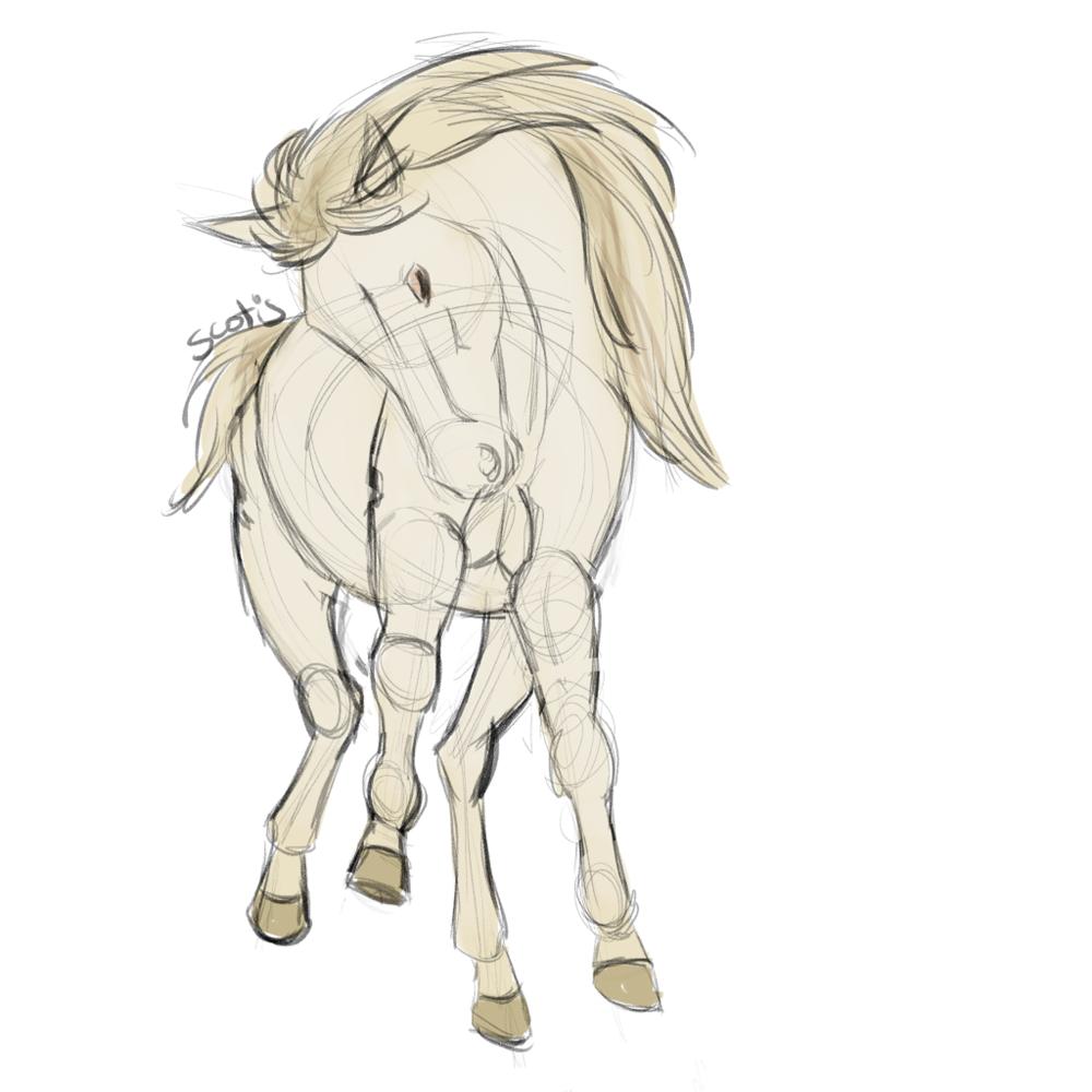 Cheval crème vu de face sautant, sketch par Scotis