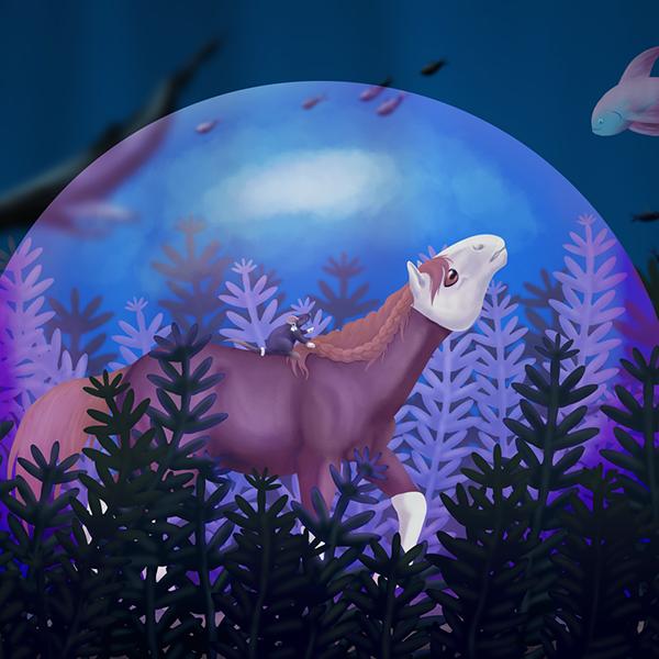Peinture numérique d'un cheval dans une bulle sous l'eau avec un rat sur le dos