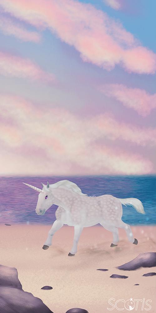 Licorne boulonnais sur la plage