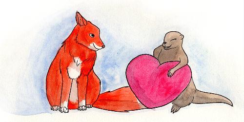 Loutre présentant un coeur à un renard,, aquarelle par Scotis