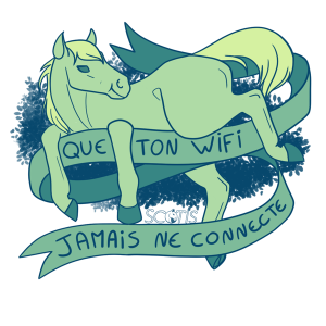"""sticker poney """" Que ton wi-fi jamais ne connecte """" insultant"""