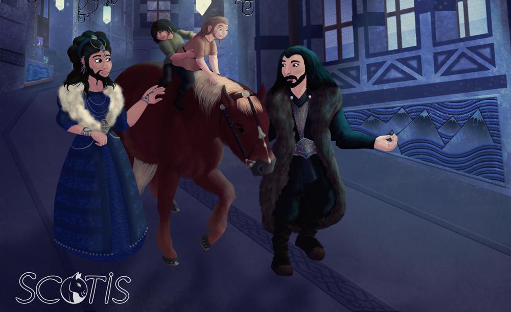 Dis, Fili, Kili, Thorin et un poney