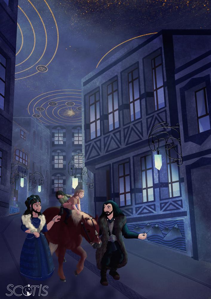 Vue intérieur de la Montagne Bleue en Ered Luin, contenant le Hall de Thorin, royaume nain. Avec Fili, Kili, Dis et Thorin. Peinture numérique par Scotis (Charlotte Leclère)