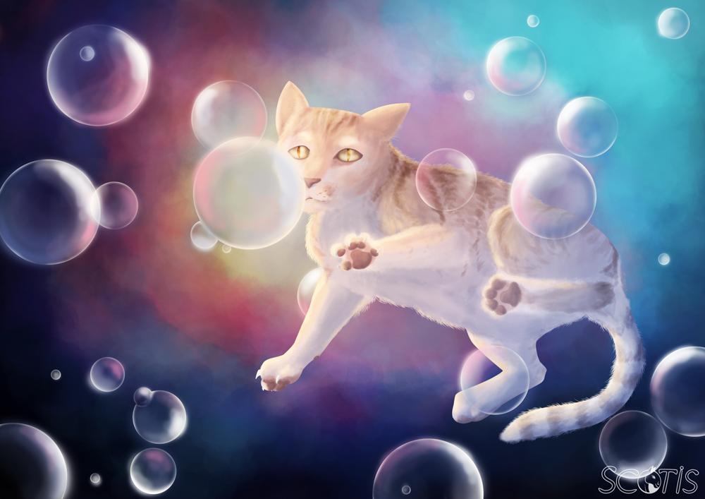 Chat tigré roux abricot dans l'espace multicolore entourée de bulles, peinture numérique par Scotis