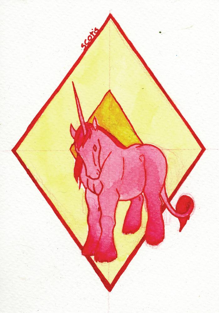 Illustration à l'aquarelle et l'encre représentant une licorne rose sur un fond géométrique jaune par Scotis