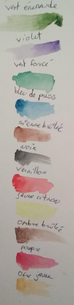 Swatch des couleurs de ma palette Foir-fouille.