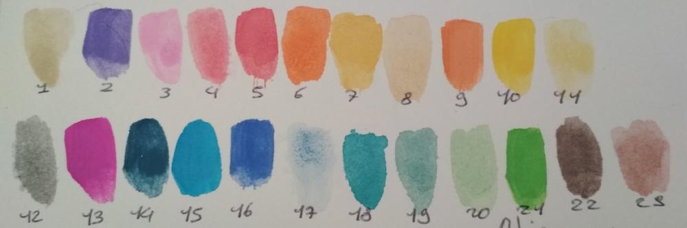 Swatch des couleurs de ma palette sans-marque.