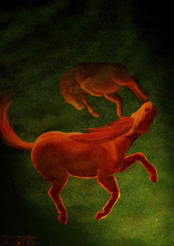 Illustration numérique représentant deux chevaux rouges prit dans un tourbillon, le fond est vert