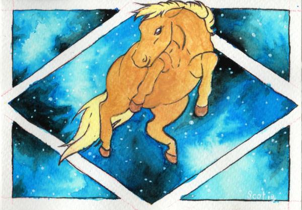 Aquarelle par Scotis représentant un cheval palomino flottant dans l'air, en fond une forme géométrique représentant une fenêtre, les vitres sont une galaxie bleues avec une myriade d'étoile