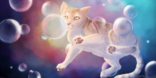 Illustration numérique d'un chat roux tigré volant dans les bulles, sur fond multicolore