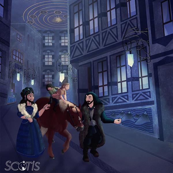 Dis, Thorin, Fili, Kili et un poney se promenant dans les rue du Hall de Thorin, en Ered Luin. Fan-art du Hobbit de Tolkien, par Scotis