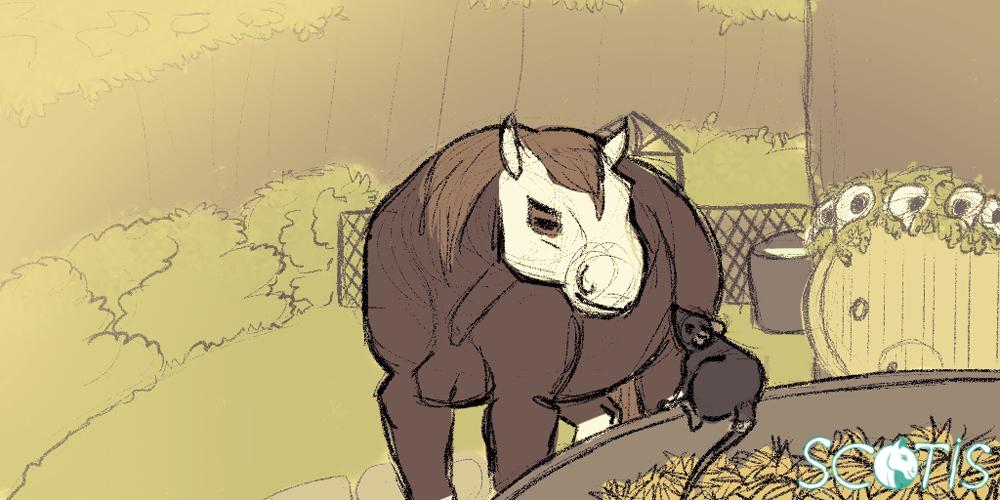 Encre (la ratte) alpaguant l'attention d'Alekiss (la jument) illustration