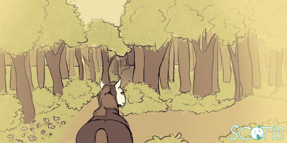 Illustration d'Alekiss la jument devant choisir un chemin dans la forêt