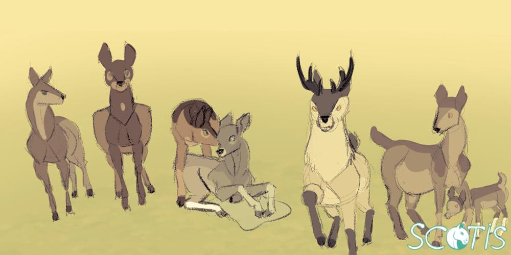 Illustration d'une harde de cerf par Scotis