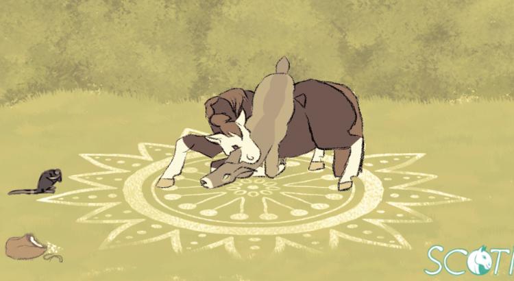 Illustration d'Alekiss la jument plaçant une biche au centre d'un cercle de magie