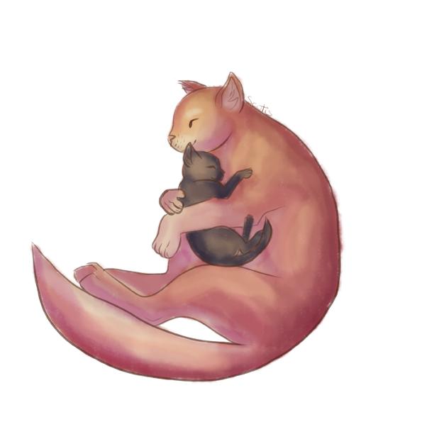 Une maman chat et son chaton, j'trouve ça mignon, même si ça ressemble à des écureuils.