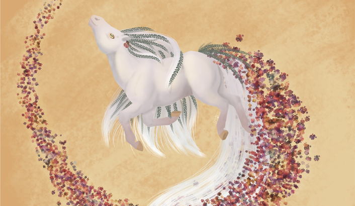 Illustration numérique d'un cheval crème plein d'herbe folle, dans un tourbillon de fleurs rouge sur un fond orange.