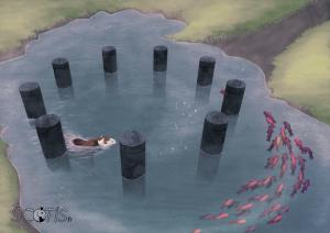Illustration numérique de Scotis représentant un cheval nageant dans un lac avec des poissons, au centre d'un cercle de pierre taillée