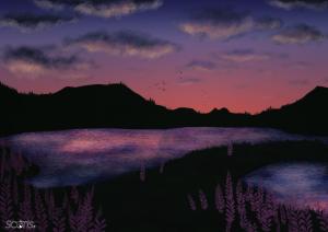 Croquis d'étude d'étendues d'eau, sur fond de montagne et sous un ciel de couchée de soleil. Sketch numérique par Scotis.