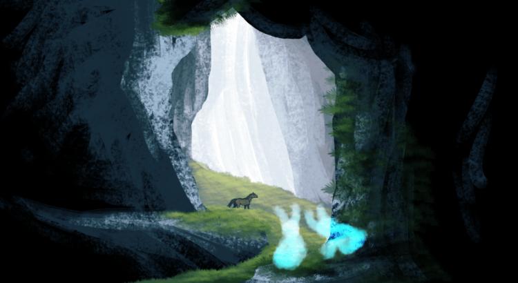 Grotte éclairé par le soleil, pleine d'herbe où se balade un cheval sous les yeux d'esprits lumineux.