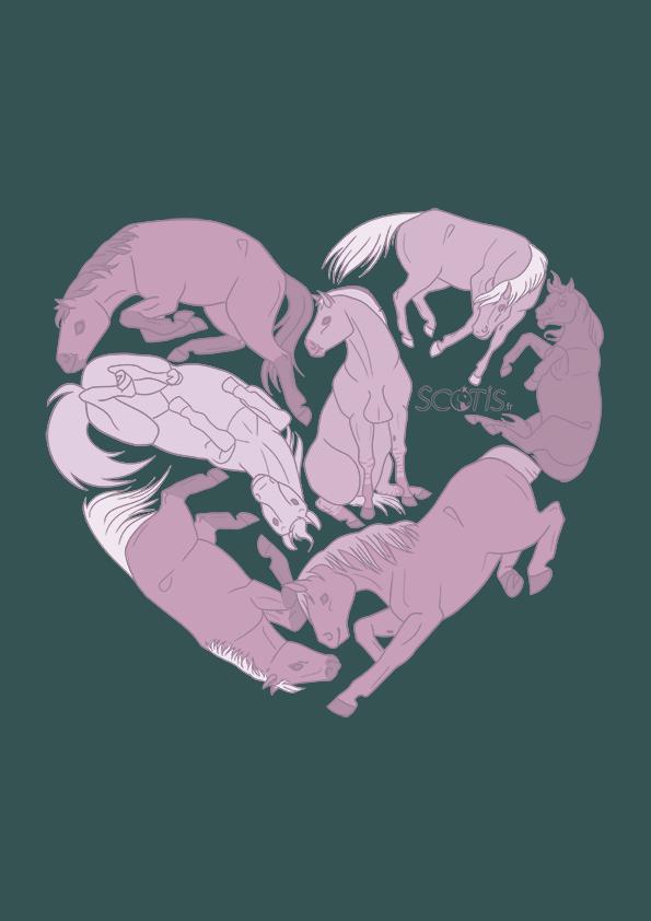 Chevaux formant un coeur, en rose et vert, illustration par Scotis