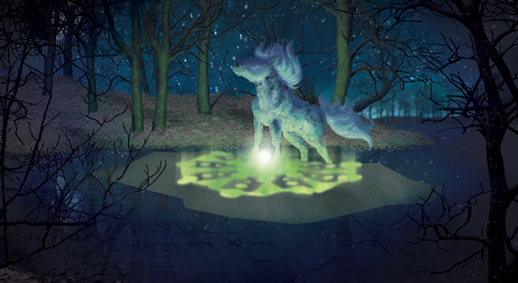 Illustration par Scotis (Charlotte Leclère) nommé Désolation, représentant un cheval appaloosa réalisant un cercle de transmutation au coeur d'une forêt et d'un lac