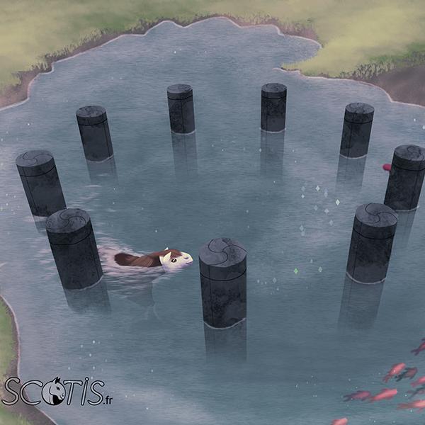 Cheval alezan se baignant dans un lac, entourée d'une structure en pierre