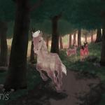 Cheval champagne galopant dans la forêt. Des biches l'observant. Illustration numérique de Scotis.