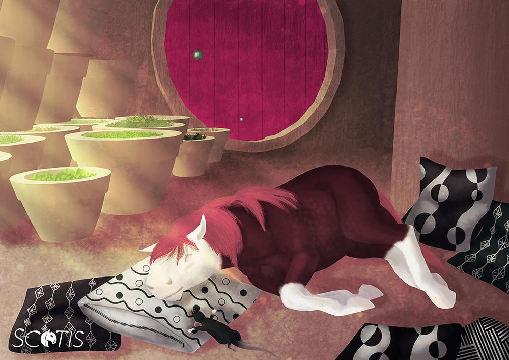 Un cheval alezan et un rat allongé dans des coussins sous un rayon de soleil, dans leur maison-arbre. Peinture par Scotis (Charlotte Leclère)