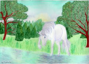 Licorne regardant son reflet dans l'eau. Aquarelle par Scotis.