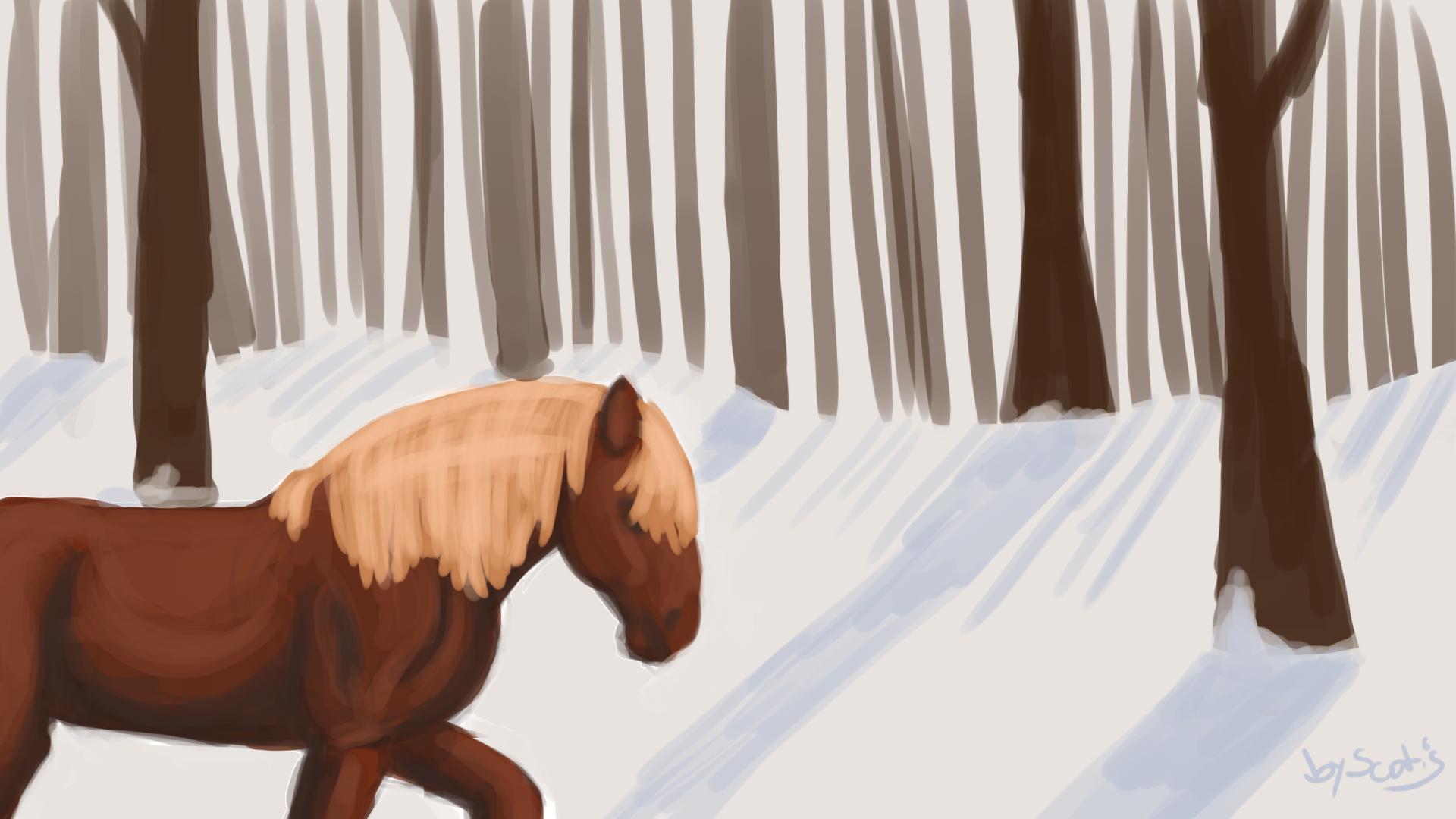 Dessin de cheval de traits dans la neige