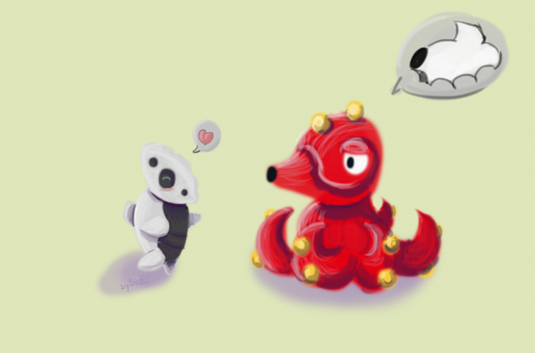 Deux pokémons, une galekid et un octillery, discutant
