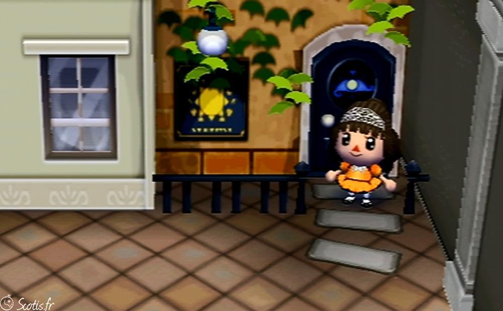 Screenshot in game d'une robe réalisée sur Animal Crossing pour la robe pour Samhain (aussi appelé Halloween) en orange et noire