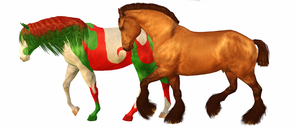 Screenshots de deux chevaux Sims 3