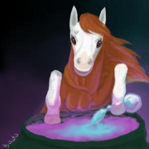 Anoukiss, dessin de cheval - Jument alezan faisant une potion magique